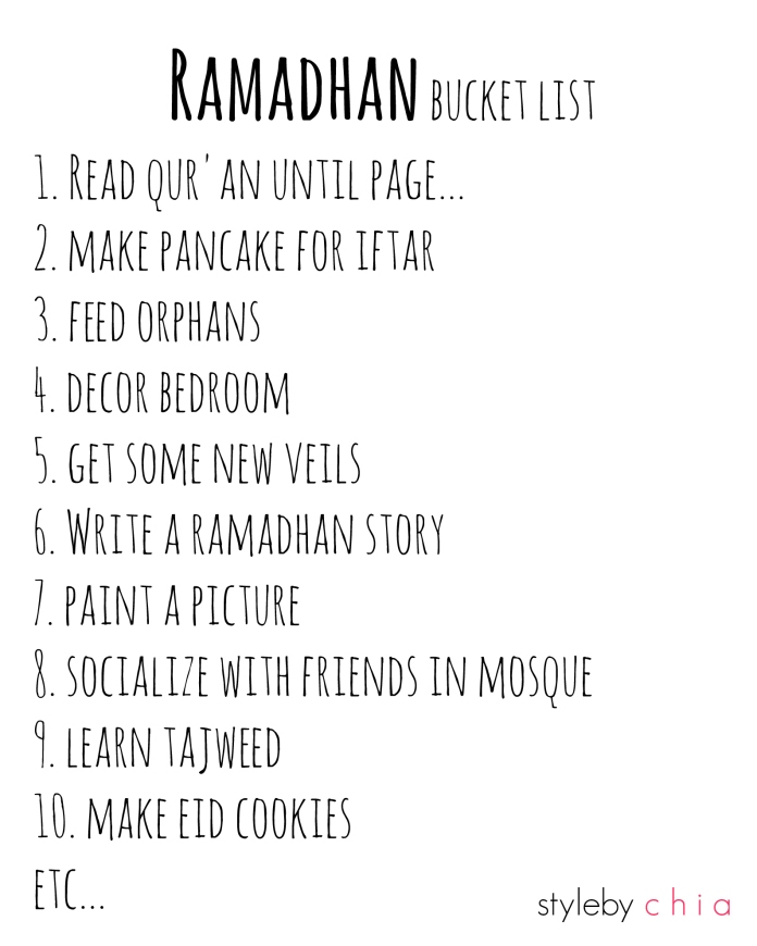 ramadhan bucket list