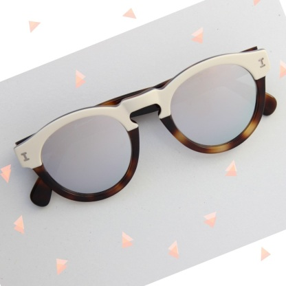 Leonard Half Half Cream with Silver Mirrored Lenses 2